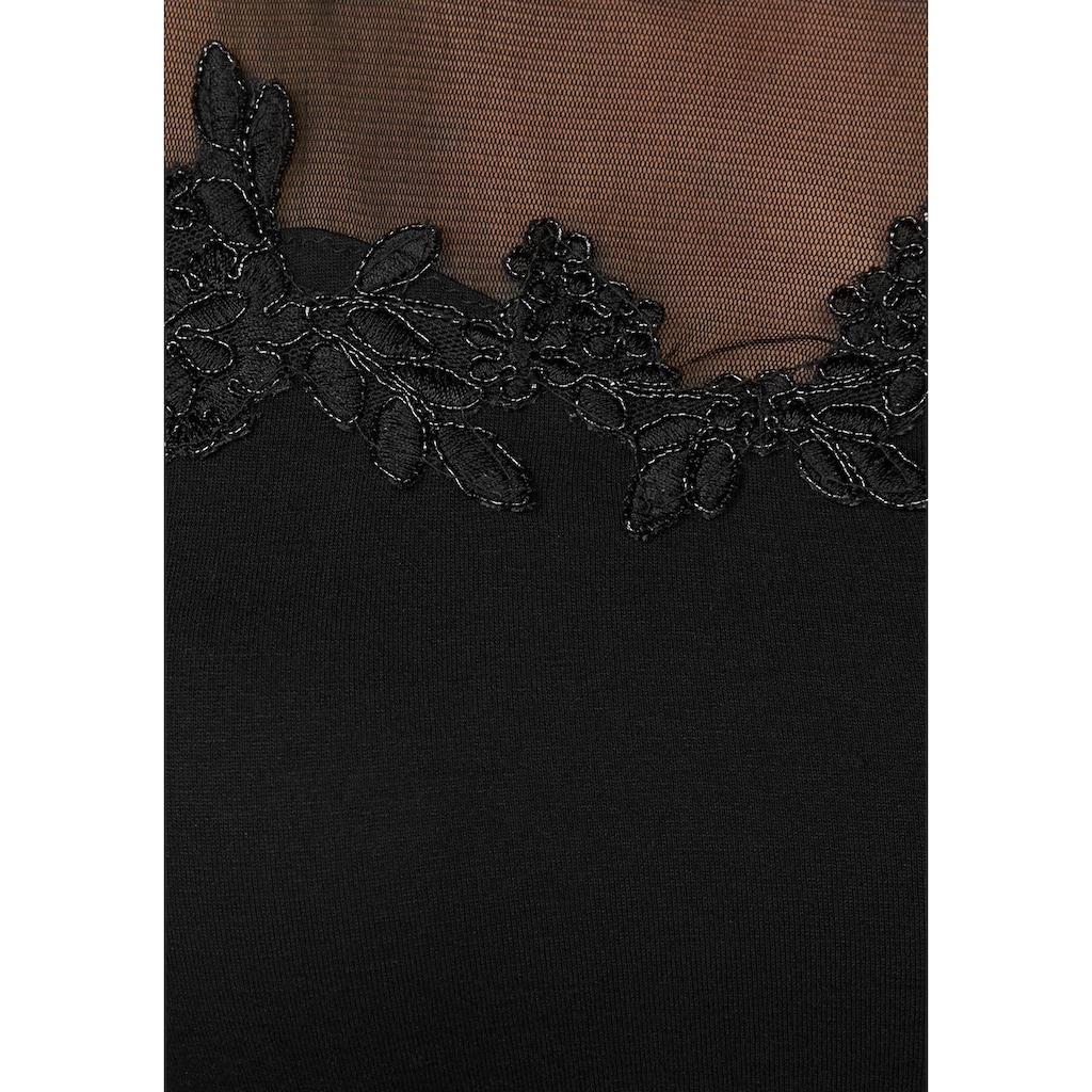 Melrose Rundhalsshirt, mit Spitzenapplikation