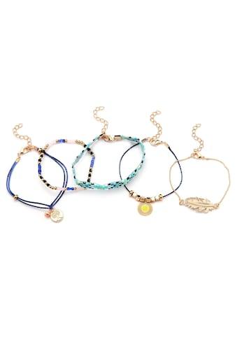 J.Jayz Armband Set »teilweise mehrreihiger Schmuck, mit Feder und Lebensbaum«, (Set, 5 tlg.), mit Glassteinen und Glasperlen kaufen