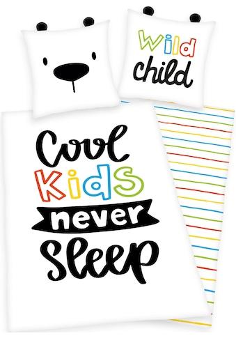 Herding Young Collection Kinderbettwäsche »Cool kids never sleep«, mit Schriftzug kaufen