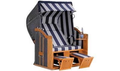 SONNEN PARTNER Strandkorb »Classic 118«, BxTxH: 130x90x160 cm, blau/weiß kaufen