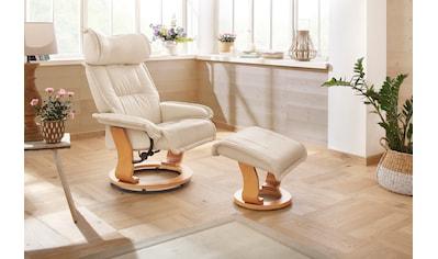 Home affaire Relaxsessel »Andorra«, mit einem Drehfuß aus schöner Holzoptik und einem Hocker, mit einem pflegeleichten Luxus-Microfaser Bezug kaufen