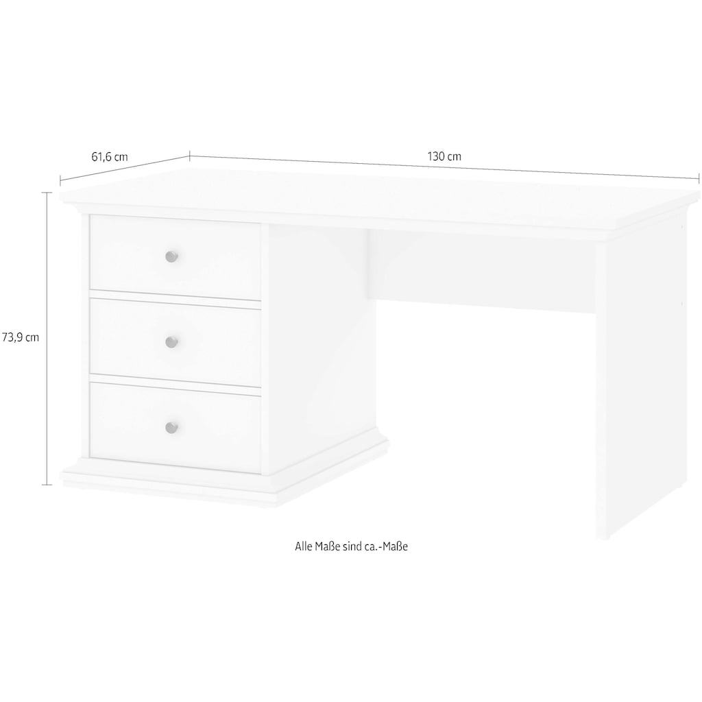 Home affaire Schreibtisch »Paris«, erstrahlt in schöner Holzoptik, Breite 130 cm