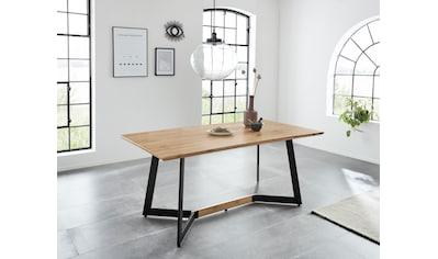 Esstisch »Winni«, Tischplatte 180 cm breit, aus pflegeleichtem MDF in Eichefarben, schwarzes Metallgestell kaufen