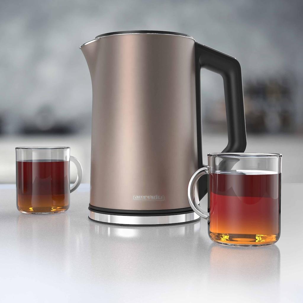 Arendo Wasserkocher »ELEGANT 1,5 Liter - Beige«, 1.5 l, 2200 W, mit Temperatureinstellung