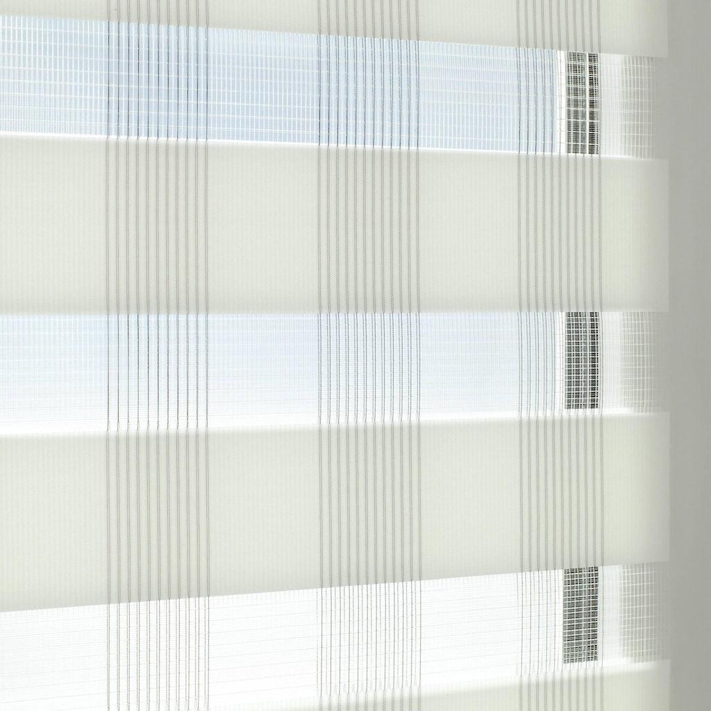 GARDINIA Doppelrollo »EASYFIX Doppelrollo Karo«, Lichtschutz, ohne Bohren, im Fixmaß