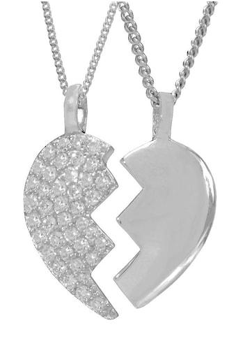 Firetti Kette und Anhänger Set »Herz«, mit Zirkonia, geteilt kaufen