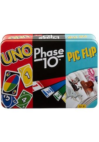 Mattel games Spielesammlung »Kartenspiel-Klassiker in Metalldose: UNO, Phase 10, Pic Flip« kaufen