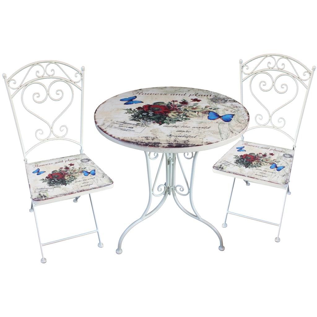 Garden Pleasure Gartenmöbelset »FLORAL«, 3-tlg., 2 Stühle, Tisch Ø 60 cm, Stahl, weiß