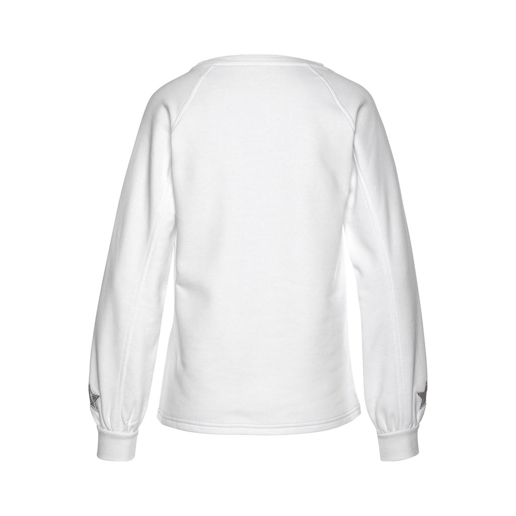 Buffalo Sweatshirt, mit Lurexstreifen und Satinstern am Ärmel