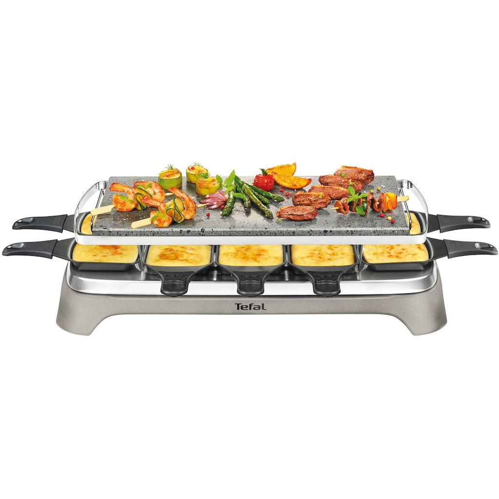 Tefal Raclette »Pierrade PR457B«, 10 St. Raclettepfännchen, 1350 W, Grill-Platte aus Stein
