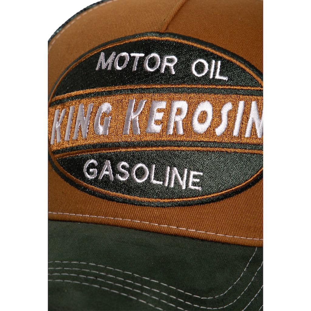KingKerosin Trucker Cap »Motor Oil«, mit Schirm in Samt-Optik und Front-Stickerei