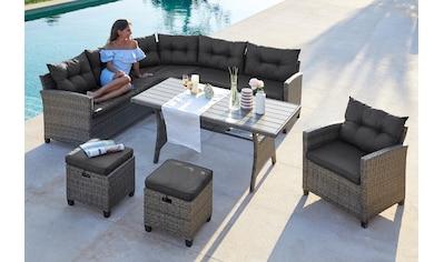 KONIFERA Loungeset »Keros Premium«, (20 tlg.), Ecklounge, 2 Hocker, Sessel, Tisch, Polyrattan kaufen