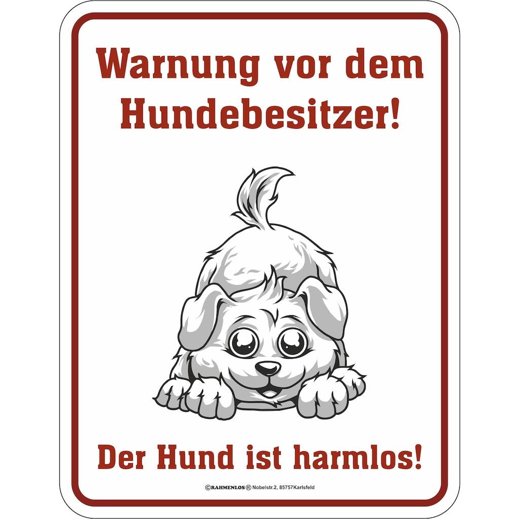 Rahmenlos Blechschild mit lustigem Hunde-Print