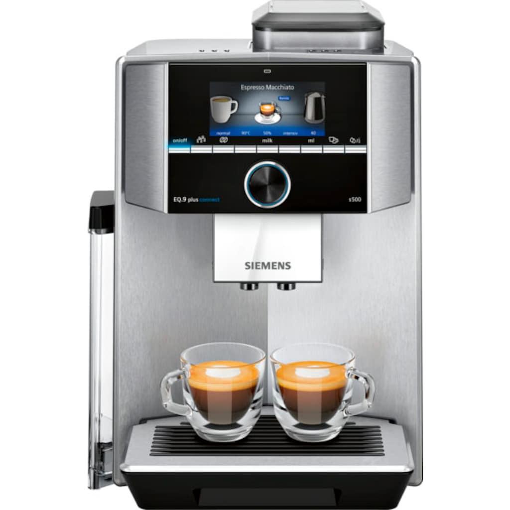SIEMENS Kaffeevollautomat »EQ.9 plus connect s500 TI9558X1DE«, extra leise, automatische Reinigung, bis zu 10 individuelle Profile