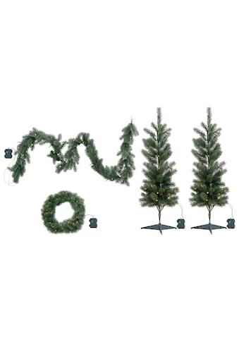 my home LED Baum »Bennett«, 4 St., Warmweiß, 4-teiliges Weihnachts-Set, mit Girlande... kaufen
