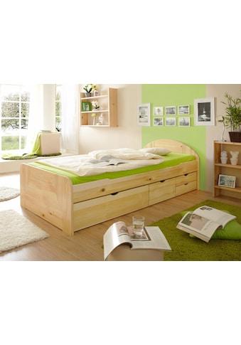 Ticaa Massivholzbett »Erna«, in diversen Breiten mit Bettschubkästen, Kiefer kaufen