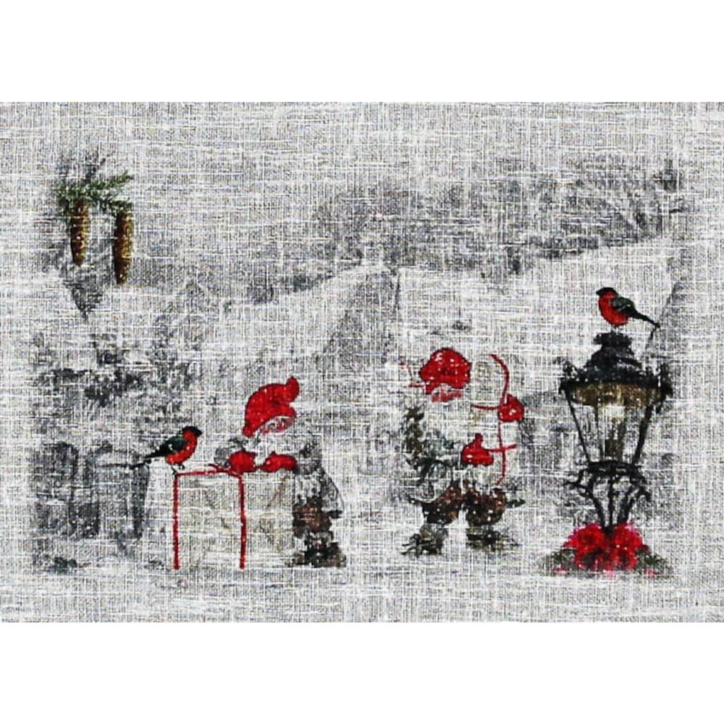 HOSSNER - ART OF HOME DECO Scheibengardine »Wichtel«, HxB: 90x40, weihnachtlicher Landhaus-Look