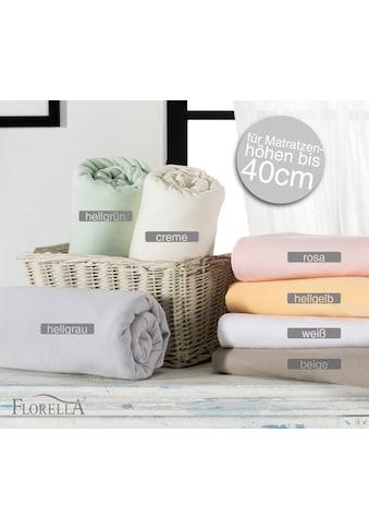 Florella Spannbettlaken »Zwirn Jersey Elasthan mit Rundumgummi, für Matratzenhöhen bis 40 cm« kaufen