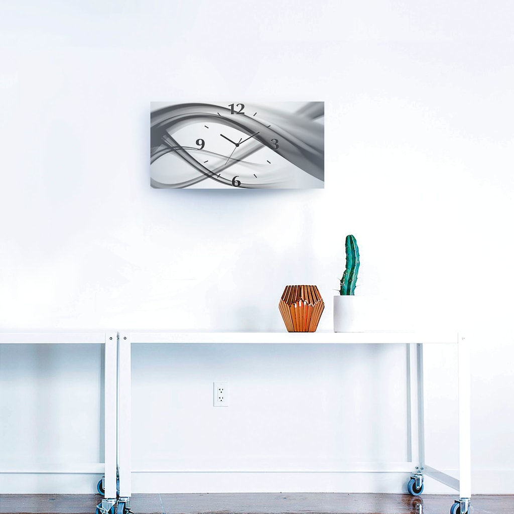 Artland Wanduhr »Abstrakte Kompositiom«, 3D Optik gebogen, silber-metallic