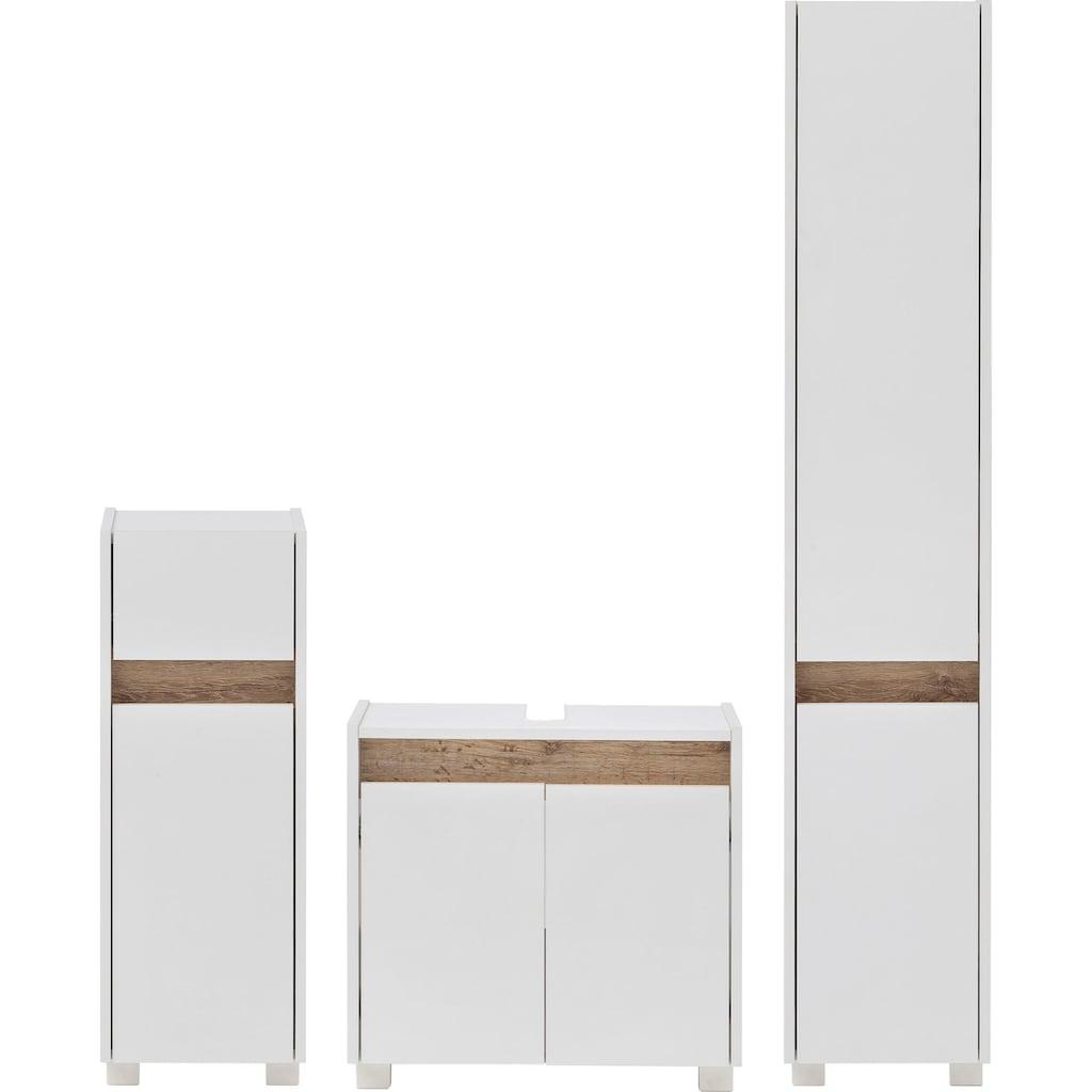 Schildmeyer Badmöbel-Set »Cosmo«, (Set, 3 St.), aus Unterschrank, Waschbeckenunterschrank und Hochschrank, grifflose Optik, Blende im modernen Wildeiche-Look, Badezimmerschränke mit wechselbaren Türanschlägen