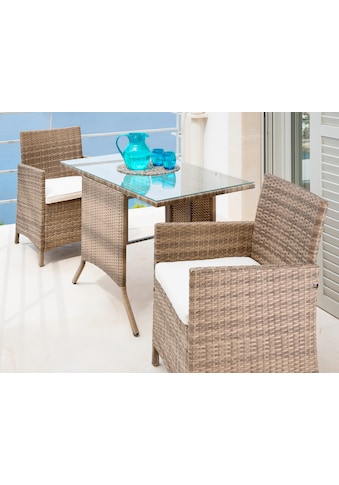 MERXX Gartenmöbelset »Treviso«, 5 - tlg., 2 Sessel, Tisch114x64 cm,Polyrattan, natur kaufen