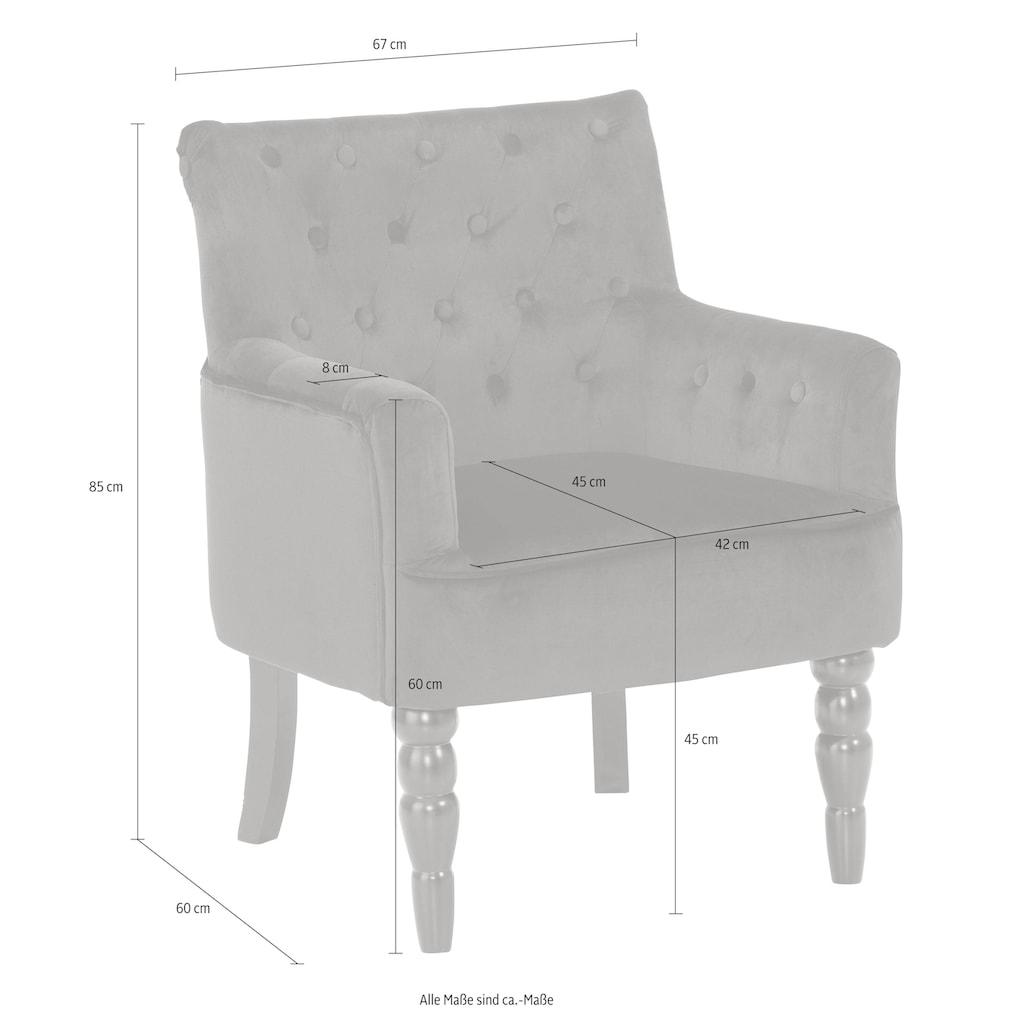 Home affaire Sessel »Alexia«, mit gedrechselten Vorderbeinen und Knopfheftung im Rücken