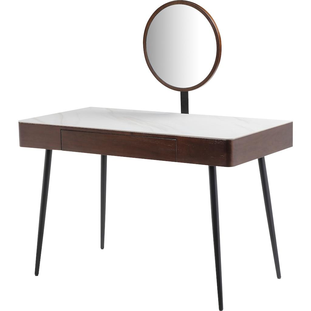 Leonique Schminktisch »Sarina«, Konsole, Schreibtisch, Keramiktischplatte in Marmoroptik, 1 Schublade, Spiegel