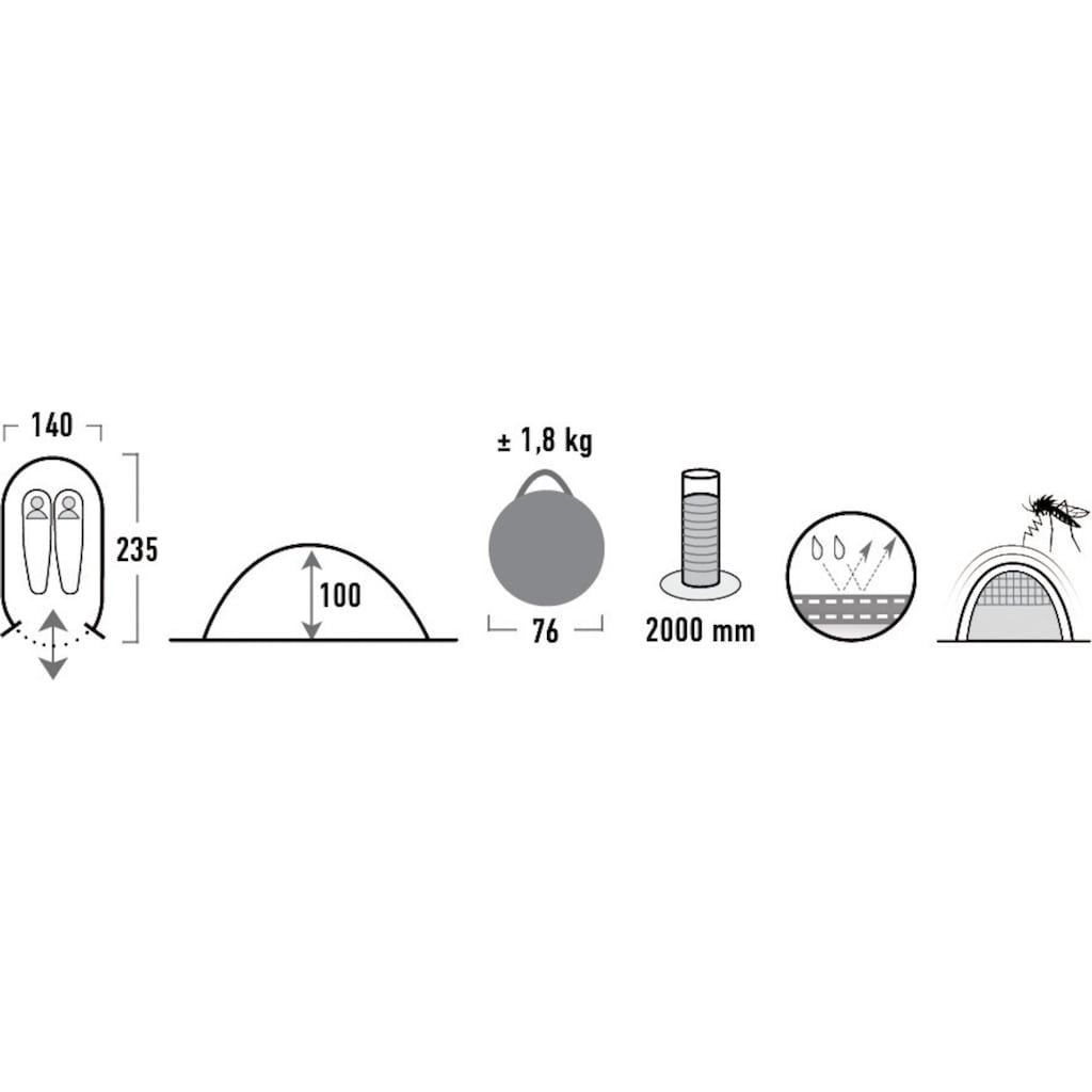 High Peak Wurfzelt »Vision 2«, 2 Personen, (Set, mit Transporttasche)