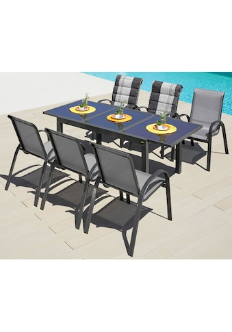 MERXX Gartenmöbelset »Amalfi«, 7 - tlg., 6 Stapelsessel, Tisch 90x140 - 200 cm, Alu/Textil kaufen