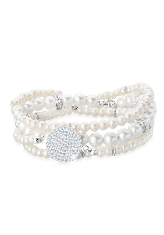 Elli Perlenarmband Set »Layering Perle Kristalle 925 Silber« kaufen