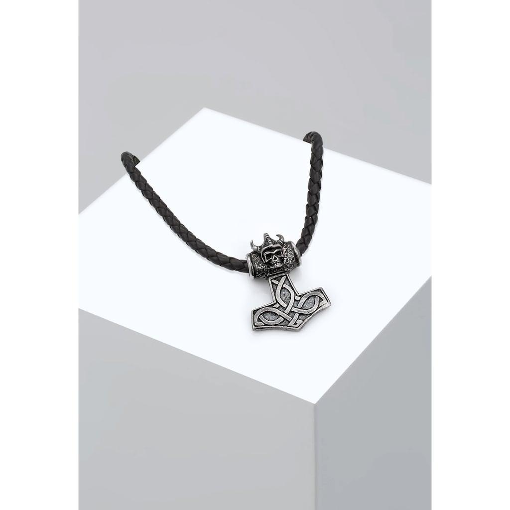 Kuzzoi Lederband »Lederkette Hammer Keltischer Knoten 925 Silber«