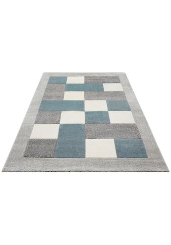 my home Teppich »Donna«, rechteckig, 14 mm Höhe, Karo-Muster mit Bordüre, Wohnzimmer kaufen
