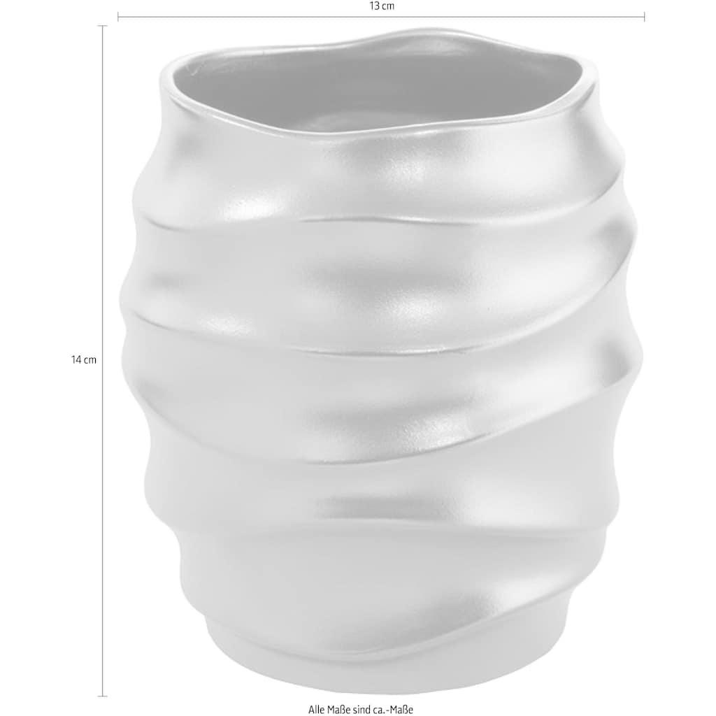Fink Übertopf »FABIA, goldfarben«, Blumenübertopf, Blumentopf, Vase, handgefertigt, aus Keramik, verschiedene Durchmesser erhältlich, Wohnzimmer