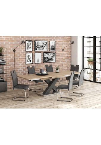 Esstisch »Komfort C«, mit X-Gestell in graphit und mit Auszugsfunktion, Breite 160-260 cm kaufen