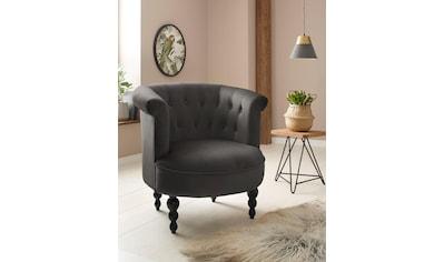 Home affaire Sessel »Egino«, aus schönem weichen Velvet Bezug, mit Massivholz Beinen,... kaufen
