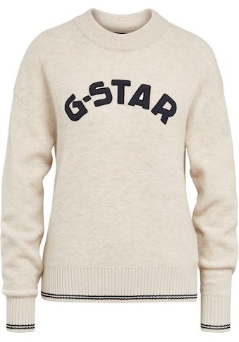 G-Star RAW Rundhalspullover »College gr r loose knit wmn«, mit großer Logo-Applikation kaufen