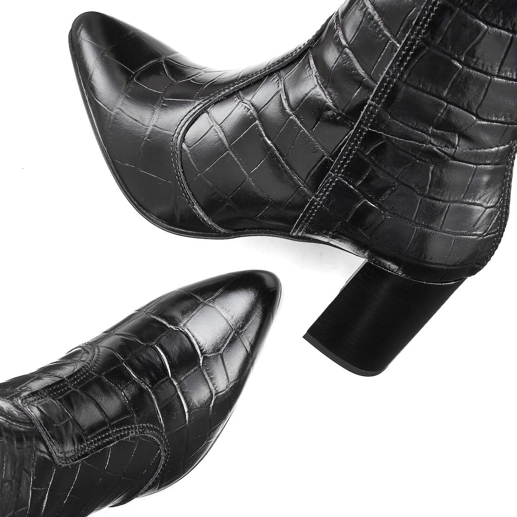 LASCANA Stiefelette, mit angesagter Kroko-Prägung aus Leder mit Blockabsatz