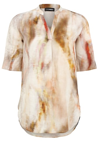 Doris Streich Kurzarmbluse »mit Allover-Print«, und Ziernähten kaufen