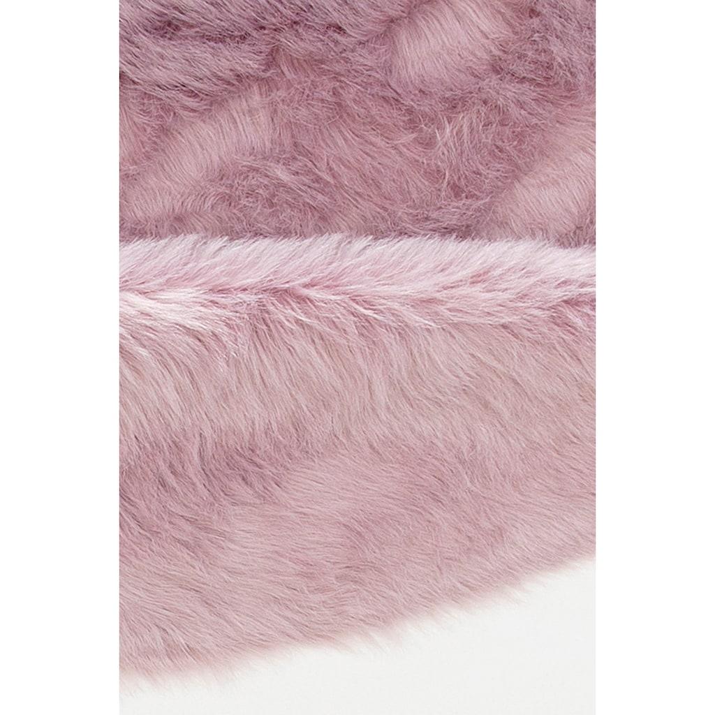 Home affaire Fellteppich »Valeria«, rund, 60 mm Höhe, Kunstfell, sehr weicher Flor, Wohnzimmer