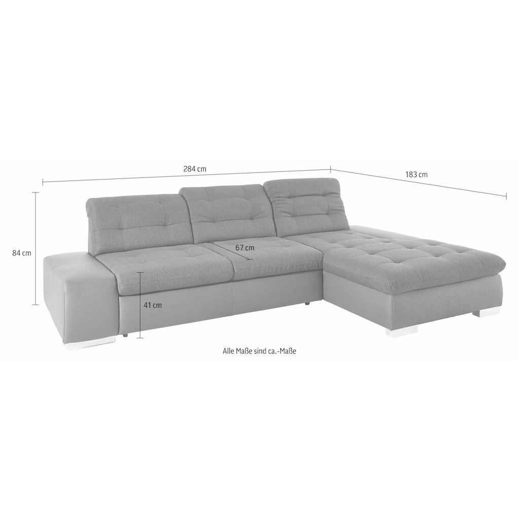sit&more Ecksofa, wahlweise XL oder XXL und mit Bettfunktion