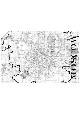 Artland Wandbild »Moskau Karte Straßen Karte«, Russland, (1 St.), in vielen Größen & Produktarten - Alubild / Outdoorbild für den Außenbereich, Leinwandbild, Poster, Wandaufkleber / Wandtattoo auch für Badezimmer geeignet kaufen