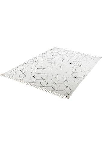 Obsession Teppich »My Stockholm 342«, rechteckig, 10 mm Höhe, Flachgewebe, handgewebt, Vintage Design, mit Fransen, Wohnzimmer kaufen