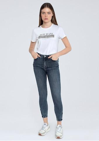 Pepe Jeans Slim-fit-Jeans »DION ZIP«, mit hohem Bund, Zippern am Saum und Stretch-Anteil kaufen