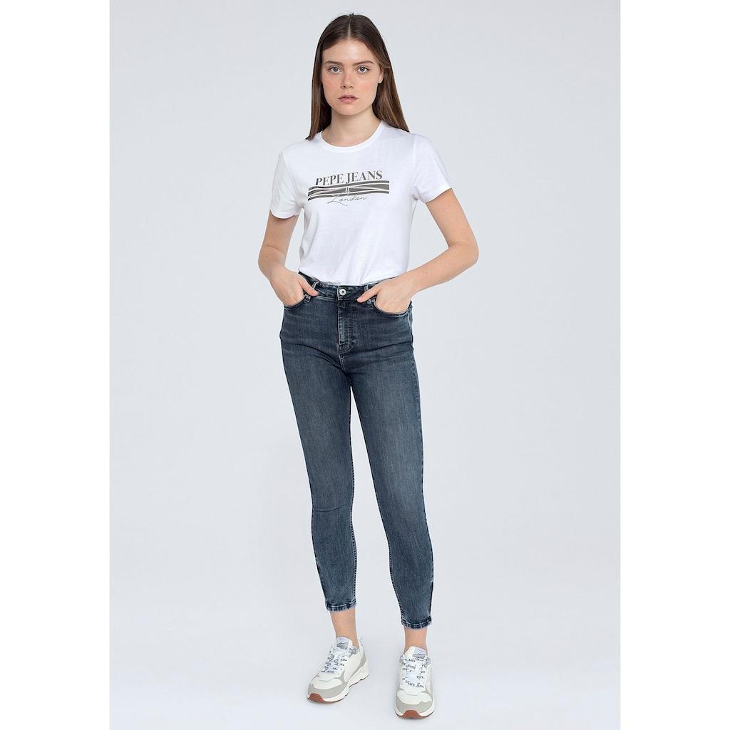 Pepe Jeans Slim-fit-Jeans »DION ZIP«, mit hohem Bund, Zippern am Saum und Stretch-Anteil