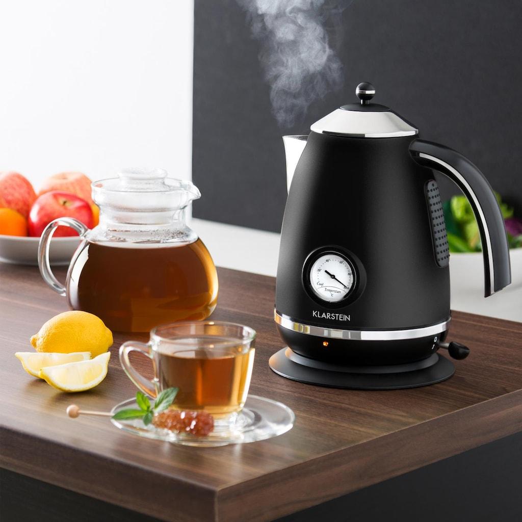 Klarstein Wasserkocher Teekessel Retro 1,7l Temperaturanzeige Thermometer