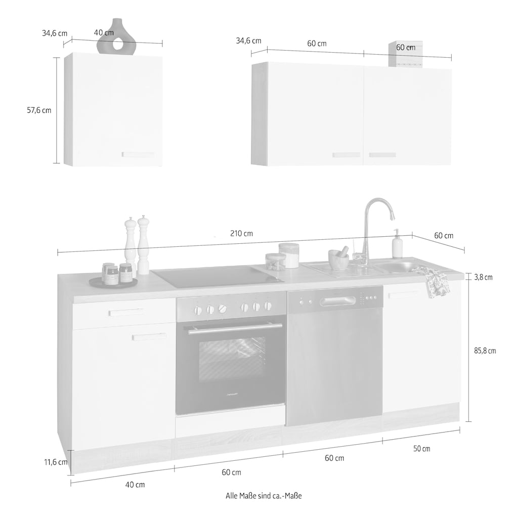 OPTIFIT Küchenzeile »Leer«, 210 cm breit, inkl. Elektrogeräte der Marke HANSEATIC, wahlweise mit oder ohne vollintegrierbaren Geschirrspüler