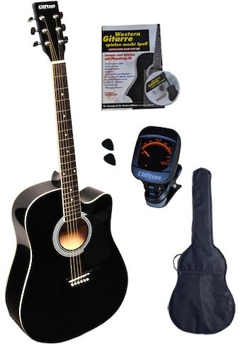 Clifton Westerngitarre »Black Cutaway«, 4/4, Komplettset kaufen