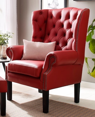 rotes Chesterfield Sessel aus Leder