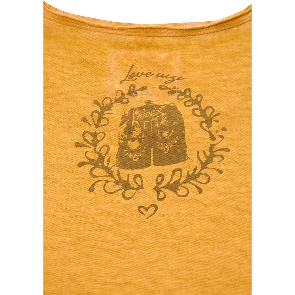 Hangowear Trachtenshirt, Kurzarm mit Aufdruck und Schriftzug