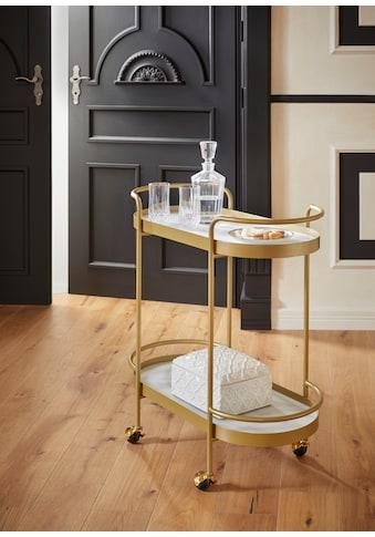 Guido Maria Kretschmer Home&Living Servierwagen »Shinely«, Ablageflächen aus Glas in Marmoroptik kaufen